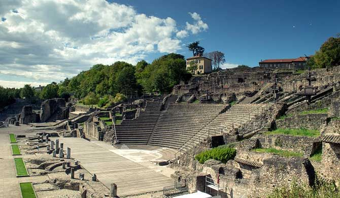 The Roman theatre is a Roman ancient structure in Lyon, France. It was built on the hill of Fourvière, which is located in the center of the Roman city.    The... Get more information about the Ancient Theatre of Fourvière on Hostelman.com #attraction #France #landmark #travel #destinations #tips #packing #ideas #budget #trips
