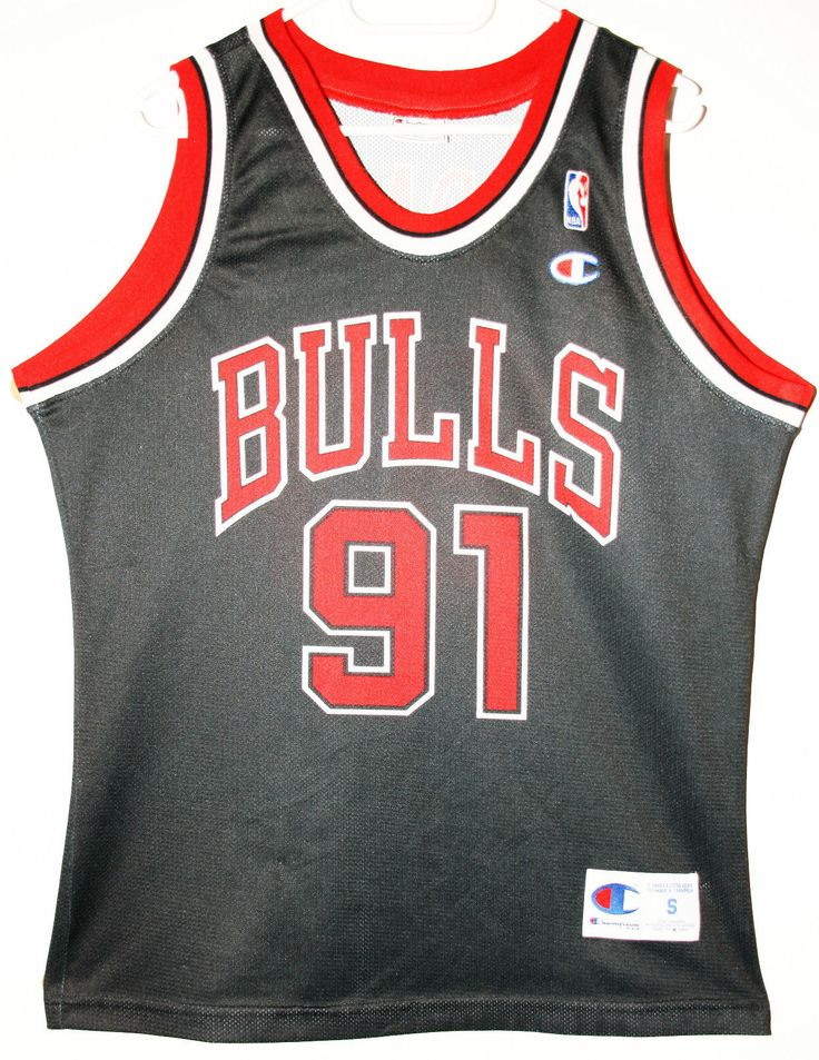 474542ea15f ... Red Stripe Swingman Jersey Champion NBA Basketball Chicago Bulls 91 Dennis  Rodman Trikot Jersey Size S ...