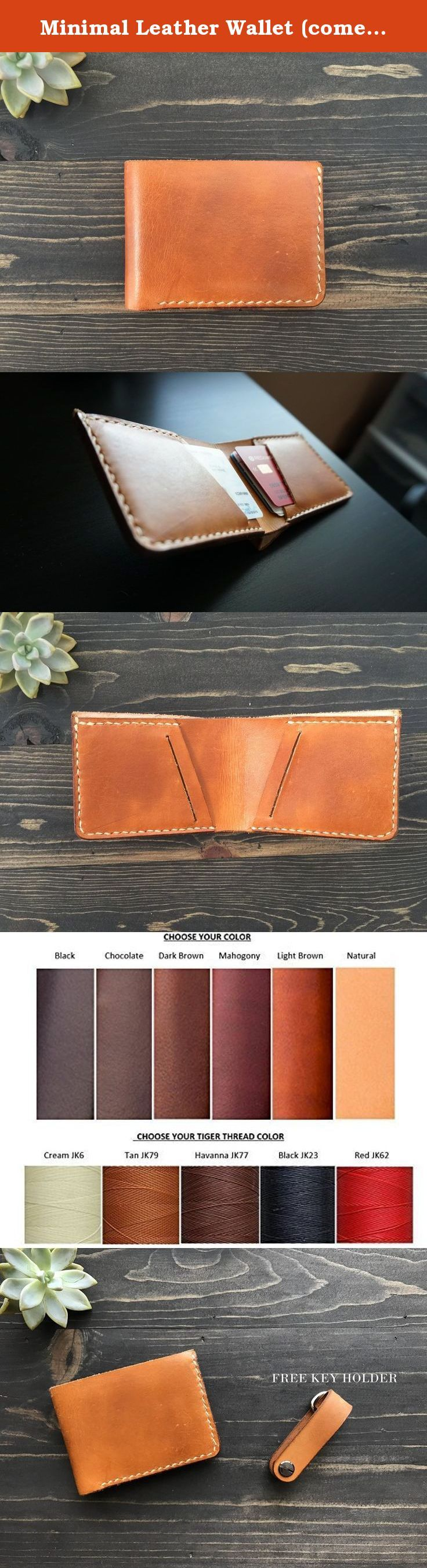Minimal Leather Wallet (comes with FREE KEY HOLDER). This 4'' x 3'' wallet is the new face of minimalism. Paired with the free key holder, your wallets will be less bulky. All wallets are made with the finest Vegetable Tanned Leather. They are all hand cut, hand dyed and hand sewn. ****Since all products are natural, there may be signs of bug bites or stretch marks that may have been left on the animal's skin.****.