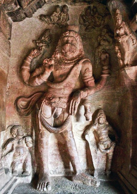 Narasimha: Avatar of Vishnu, 4th of the 10 primary avatars. Vishnu's lion incarnation is posed with attendant figures. His lower left forearm rests on a club whose bottom part has broken off.