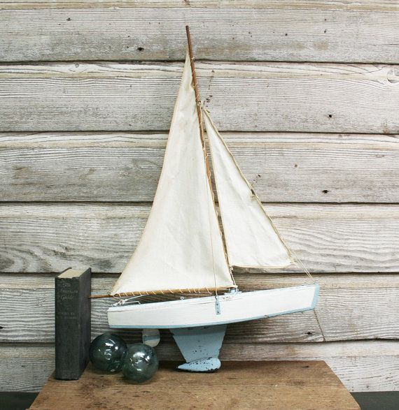 Vintage Model Sailboat  Mid Century Hand Made Pond by AuroraMills