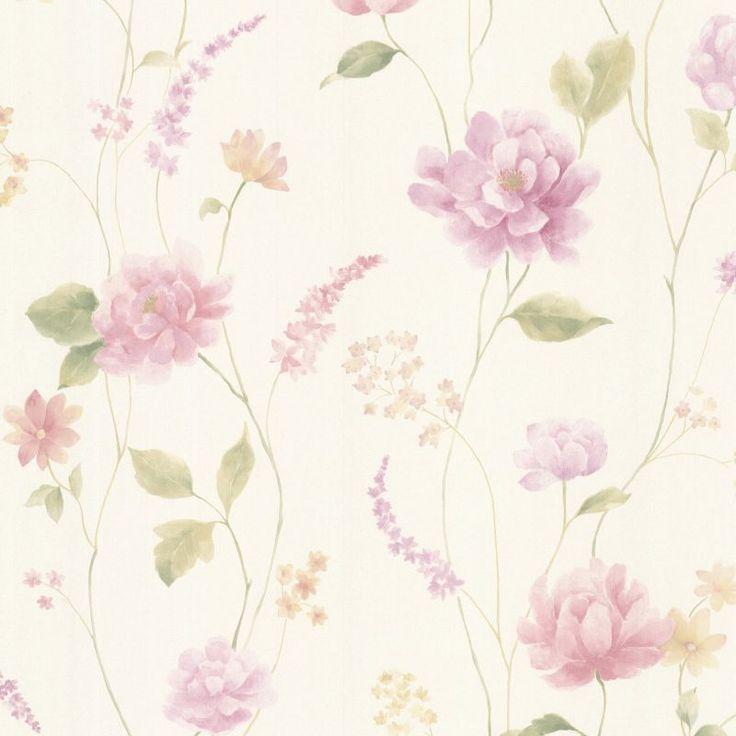 Brewster 347-20106 Hanne Purple Floral Pattern Wallpaper Purple Home Decor Wallpaper Wallpaper