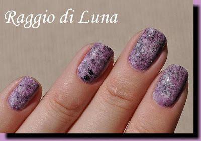 Raggio di Luna Nails: Purple & black & white saran wrap manicure