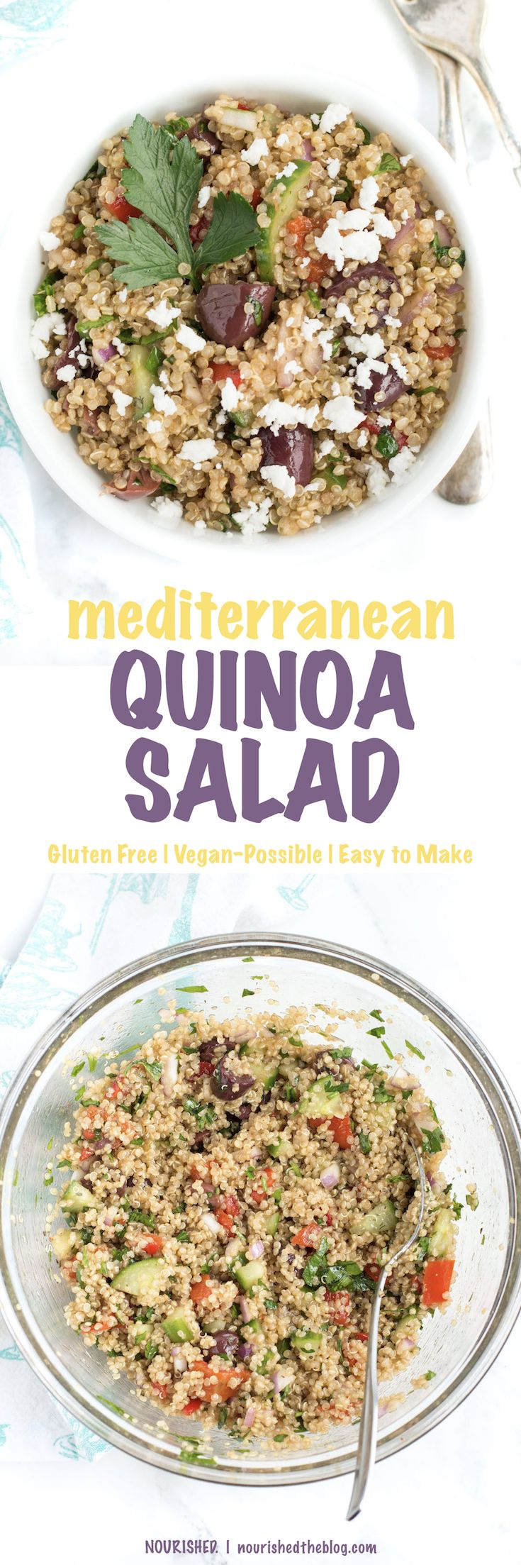 Gluten Free Mediterranean Quinoa Salad | A healthy quinoa salad recipe that's so easy to make and bursting with bright and fresh flavours. Made with quinoa, lots of veggies and crumbled cheese on top, this salad makes a great lunch or healthy dinner side dish any night of the week.