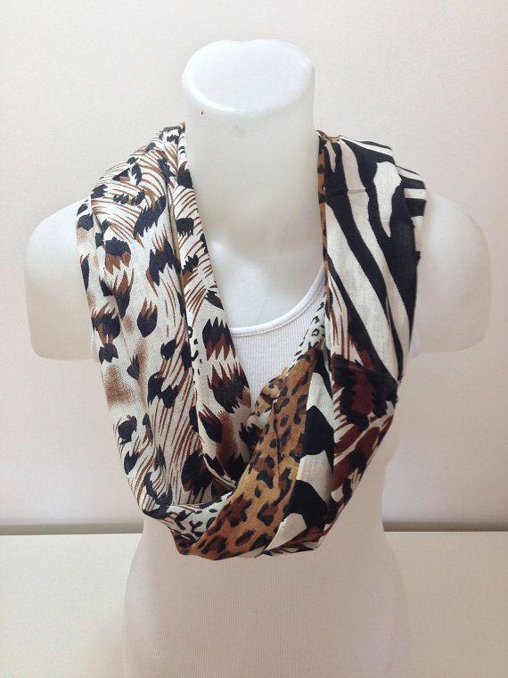 ON SALEBrown Multicolor Scarf Leopard and Zebra Scarf by BalMelek, $13.90