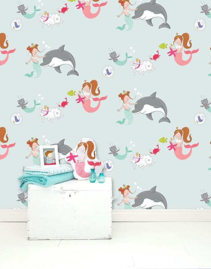 Dromen komen tot leven zeemeermin behang. Interieurstyling Ideeën voor de #baby, #peuter of #kleuter #slaapkamer