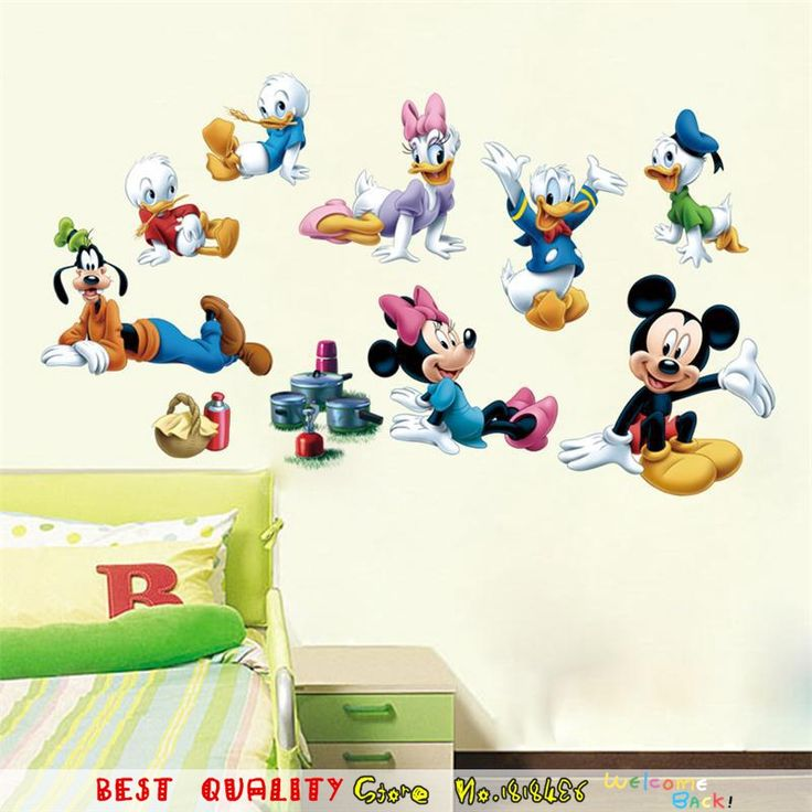 Fashion Mickey Mouse Donald Duck Baby Girls Wall Stickers, Kids Room  Decoration DIY Wall Decals Part 63