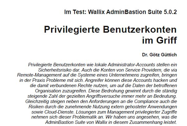 Im Test: Wallix AdminBastion 5.0.2