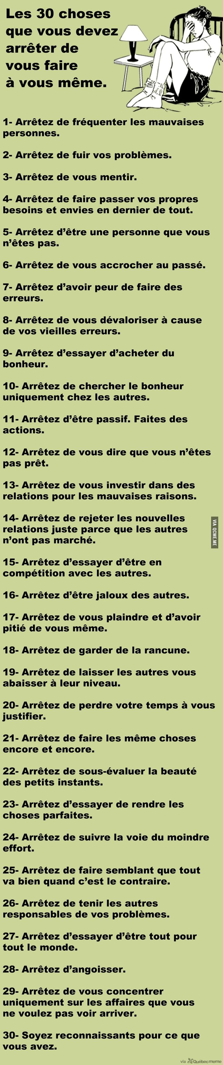 Les 30 choses que vous devez arrêter de vous faire à vous même – Québec Meme +