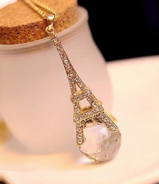 Eiffel Tower Exotic Fantasy Crystal Ball Necklace