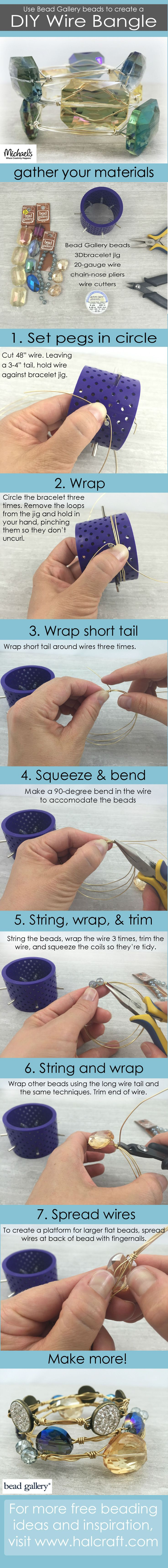 DIY wire wrapped bangles tutorial using Bead Gallery beads and Artistic Wire #madewithmichaels