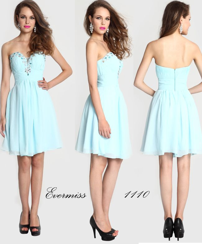 Classy Evermiss 1110 Deep-V Short Beads Homecoming Dress