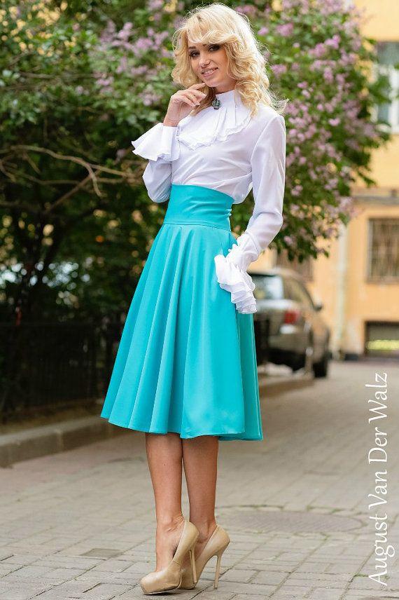Turquoise Skirt Maxi . Skirt with Pocket. Viscose,Cotton  / High Quality Designer summer long skirt. Midi Skirt, plus size skirt available