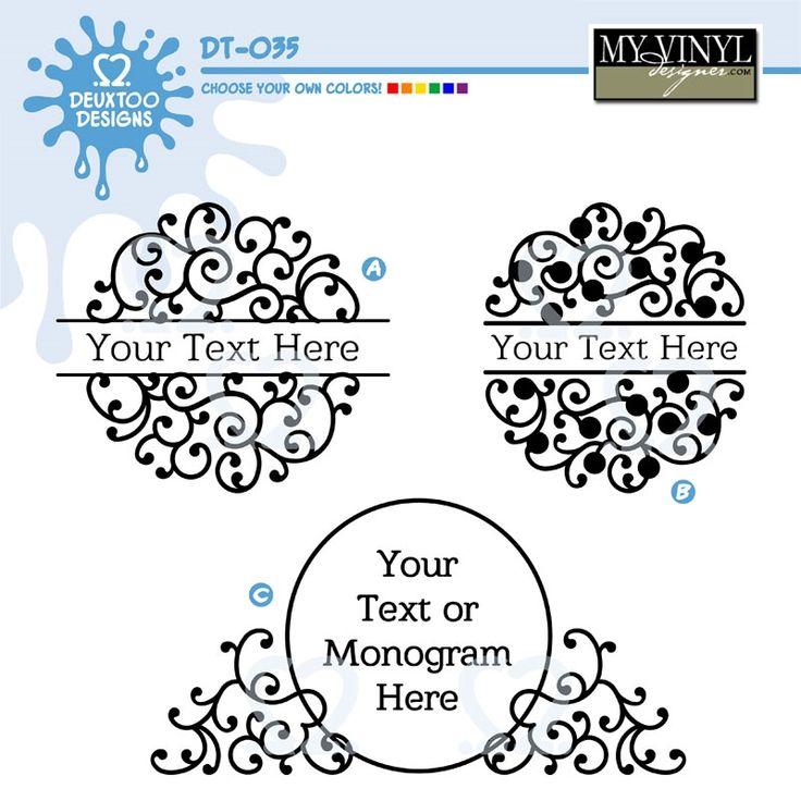 #myvinyldesigner #deuxtoodesigns A set of swirly, circular frames. Perfect for vector, vinyl, cricut, silhouette, SVG, GSD! Digital download!