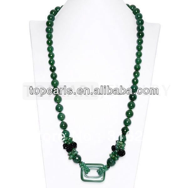 Topearl Ювелирные Изделия Круглый Зеленый Агат Камень Ожерелье 32 Дюймов ND104115