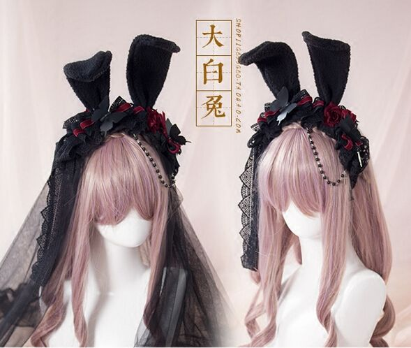 Aliexpress.com : Buy handmade gothic dark lolita headband lace rose veil bunny ears kc lolita hair accessories for women 0157 from Reliable headband boutique suppliers on Beautiful Item Shop  | Alibaba Group