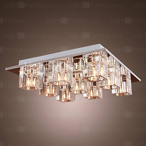 K9 Crystal Ceiling Light with 9 Lights in Square