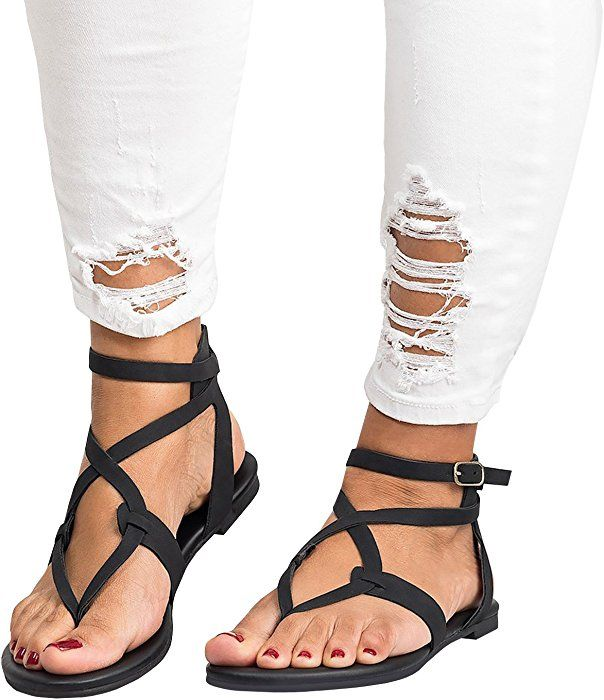 d1ecab9e5cf4ba Amazon.com  Ferbia Womens Summer Sandals Flat Ankle Buckle Criss Cross Gladiator  Thong Flip Flop Casual shoes  Clothing