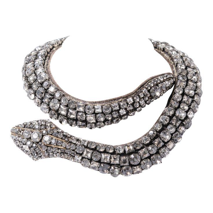Vera Wang Smoky Rhinestone Encrusted Snake Necklace : On Antique Row - West Palm Beach - Florida