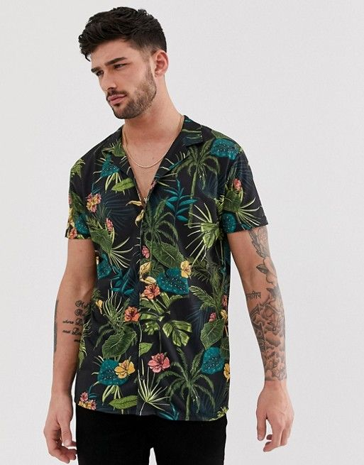 fe626106 boohooMAN revere collar shirt in tropical print in 2019 | asos men ...