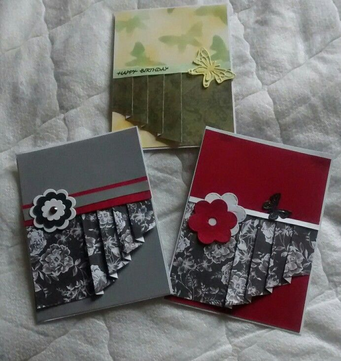 My go at making drapery fun fold cards