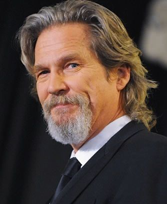 Jeff Bridges - long salt and pepper hairstyle and goatee