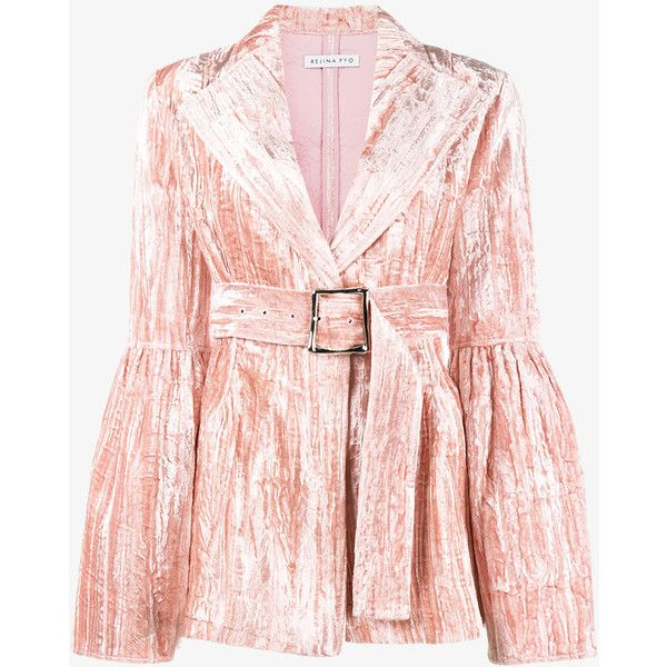 Rejina Pyo Claire Crushed Velvet Blazer (£555) ❤ liked on Polyvore featuring outerwear, jackets, blazers, pink blazer, crushed velvet blazer, pink jacket, blazer jacket and crushed velvet jacket