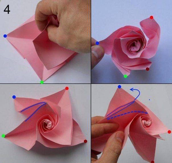 Rose Aus Papier Falten Blumen Basteln Anleitung Dekoking Com 6