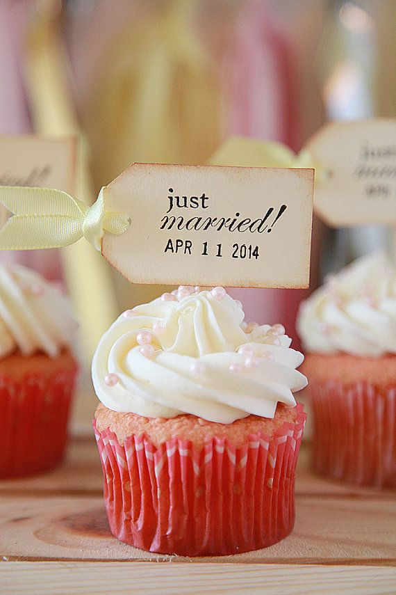 Just Married Cupcake toppers Rustic Wedding Shabby Chic by Unify, $9.00