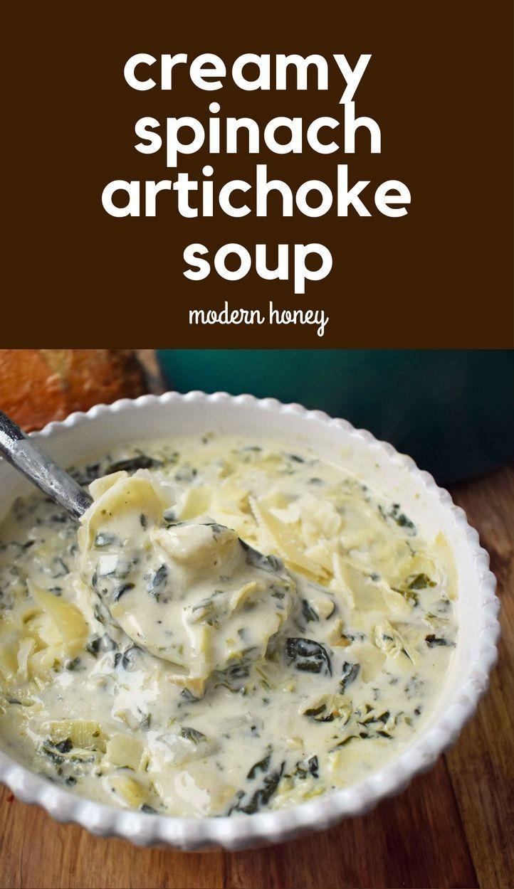 Creamy Spinach Artichoke Soup.  Warm, comforting, creamy soup. Spinach artichoke dip soup is a 5-star rated soup.  www.modernhoney.com