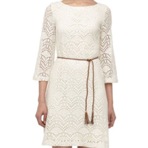 "Sharagano Rising Sun Dress Ivory crochet dress has half bell sleeves, A line silhouette and rope belt. Length 37"" Purchased from Neiman's Last Call Sharagano Dresses"