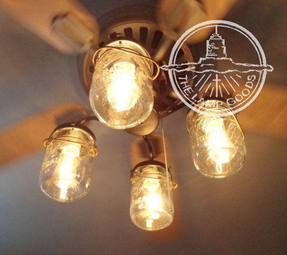 TheLampGoods - Vintage Mason Jar CEILING FAN Light KIT, $200.00 (http://thelampgoods.com/vintage-mason-jar-ceiling-fan-light-kit/)