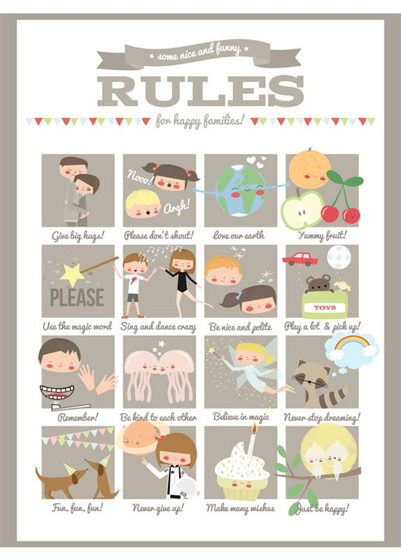 Fun family rules by ApanonaWall Art, Ideas, For Kids, Kids Wall, Rules Prints, Happy Families, Fun Families, Family Rules, Families Rules