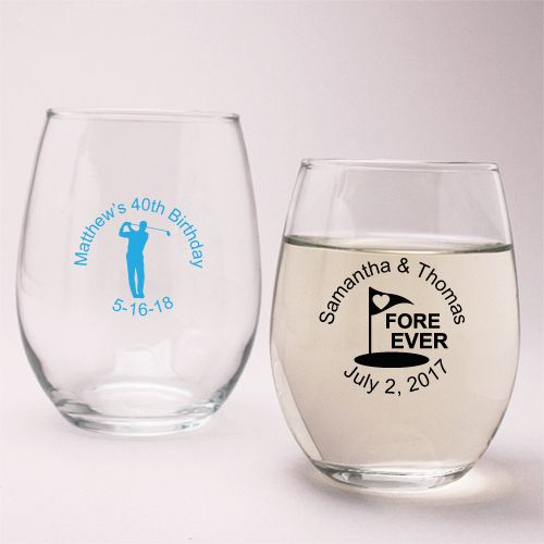 Golf Theme Personalized Stemless Wine Glass - Golf and Sports Themed Favor - Wedding Favor Themes - Wedding Favors & Party Supplies - Favors and Flowers