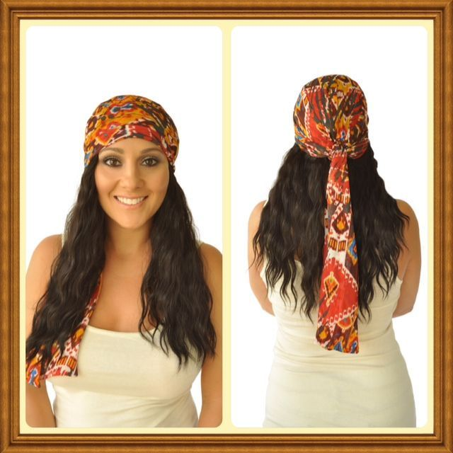 Fashion Chemo Head Scarves With Indian Wave Hair Extensions The Is Attached To
