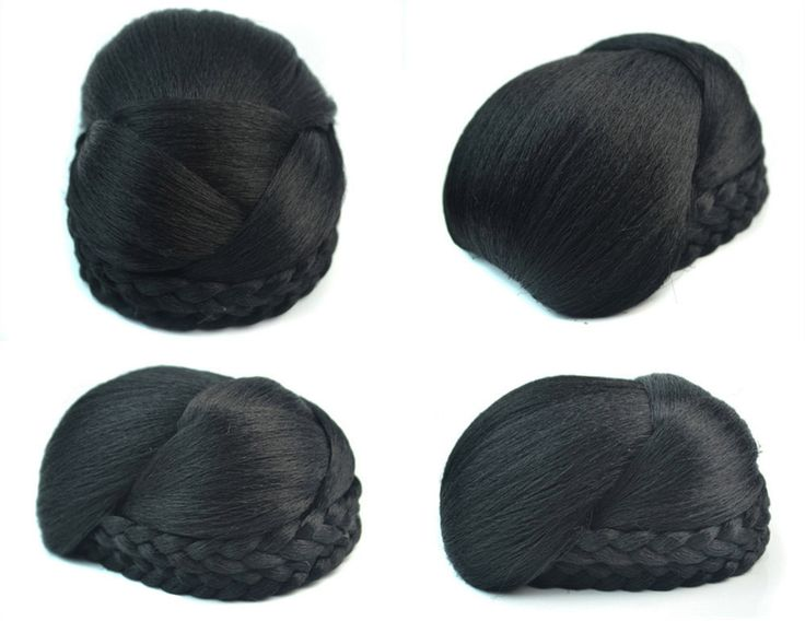 Q48  Synthetic elastic bride hair bun hair color of 1B fake hair bun pieces
