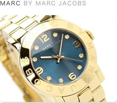 New Marc Jacobs Womens Watch Bracelet Amy Gold Blue Dial Swarovski w Box MBM3166 | eBay