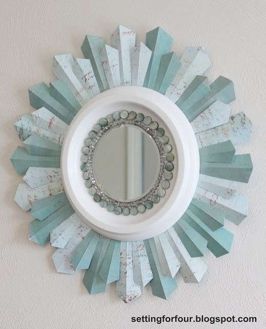 Home Decor - DIY Sunburst Mirror from Setting for Four mirror sunburst diy craft home bead tutorial - I am going to make this I love it so much!!