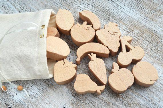 Wooden Play Food 16pcs  Wooden Vegetables  by WoodAndYarnToys