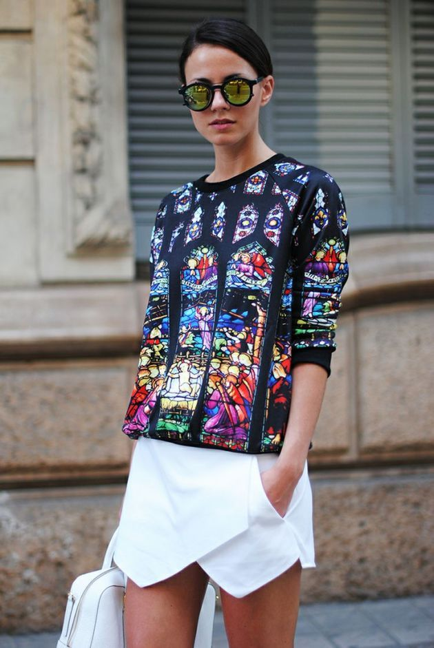 Graphic style with whit geometric dress and arty shirt  #church #graphic #outfit #colorful