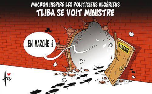 Hic (2017-04-26 ) Algérie: Macron inspire les politiciens algériens: Tliba se voit ministre, Caricature de Hic du 26-04-2017   Presse-dz