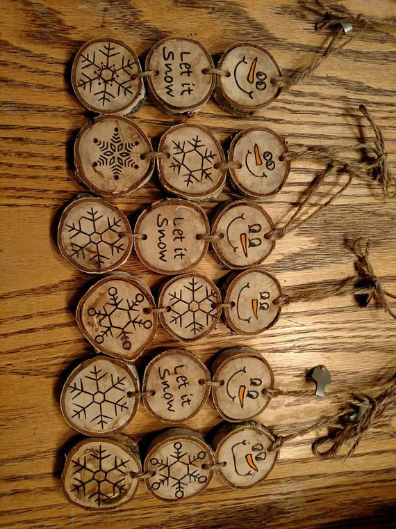 The listing is for one stacked snowman ornament - each will be slightly different as each wood disc has its own markings and imperfections. These Snowmen are made out of weathered white birch wood discs. No trees are damaged to make my ornaments. I only use fallen limbs or trees.