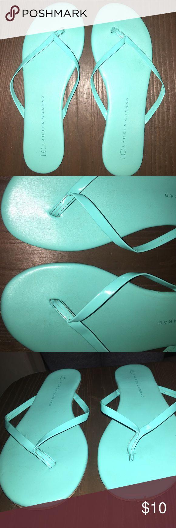 [LC Lauren Conrad] Blue Flip Flops Good condition with some minor wear. Size 8.  Kind of a Tiffany blue color. LC Lauren Conrad Shoes Sandals