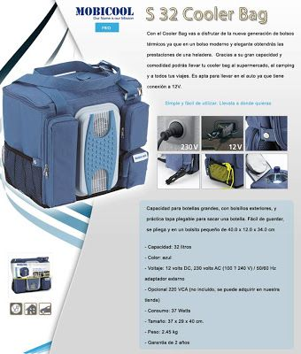 Mobicool S32 Ultra Cooler Bag now at RM 390.00 only! pecifications:  Dimensions: L40 x W28 x H37cm / 2.75 kg (folds away to a small pack of L40 x W14 x H37 cm that can be fixed with press studs). Weight: 2.75kg. Voltage: 12 V DC Only. Insulation: Light-weight full insulation. Cooling unit: 4 A peltier cell with 12 V feed. Cooling max: 15°C below ambient temperature.
