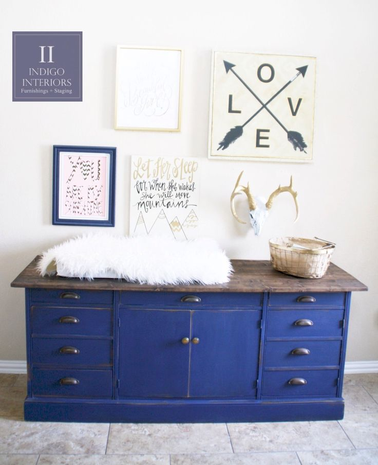 Farmhouse Style Navy Blue Distressed Dresser | Buffet | Changing Table | Printer Cabinet | Tv Stand with Wood Plank Boards by IndigoInteriors on Etsy https://www.etsy.com/listing/240147252/farmhouse-style-navy-blue-distressed