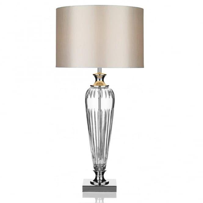 Glass & Polished Chrome Table Lamp