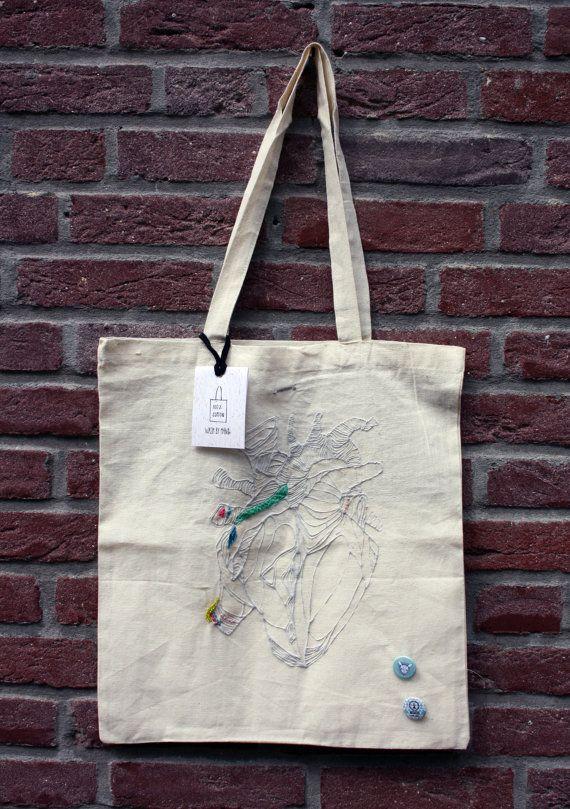 Hart Canvas Tote bag Printed katoenen tas van amberdelahaye op Etsy
