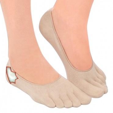 """Invisible Gel Socks! Ingenious Gel Socks are like a soft cozy glove for your feet. """"No-sweat"""" socks with built-in heel gel pad fits comfortably in shoes separating toes and wicking away moisture. Protects feet from the pain and discomfort of corns, calluses  blisters. Gel heel helps put an end to unsightly heel cracks and flakes. Imported of cotton/Spandex  polymer gel. One size fits most."""