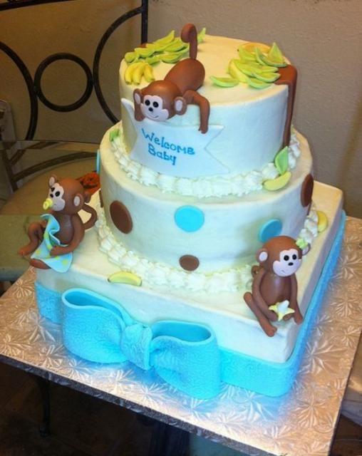 28 best baby shower cake ideas images on pinterest monkey baby showers monkey cakes and baby - Baby shower cakes monkey theme ...