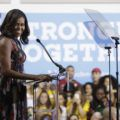 First lady Michelle Obama speaks during a campaign rally in support of Democratic presidential candidate Hillary Clinton and vice presidential candidate  Sen. Tim Kaine, D-Va., Friday, Sept. 16, 2016, at George Mason University in Fairfax, Va. (AP Photo/Manuel Balce Ceneta)